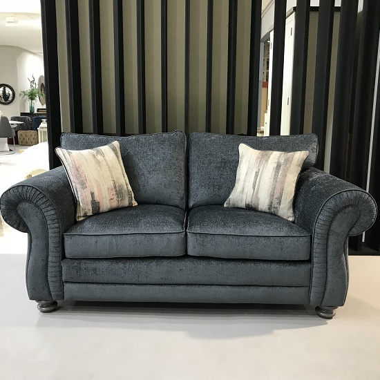Esprit Fabric 3 Seater Sofa In Charcoal With Wooden Legs