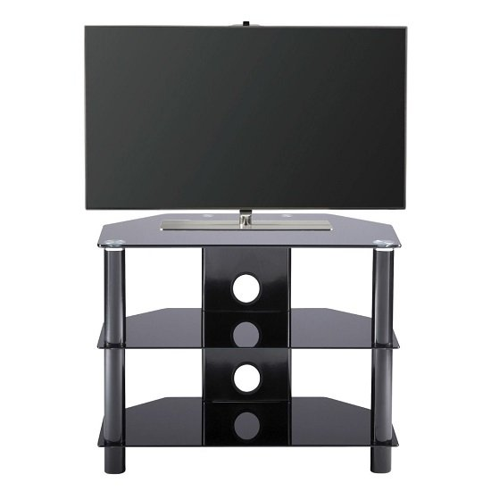 Essential Glass TV Stand Small In Black With Glass Shelves