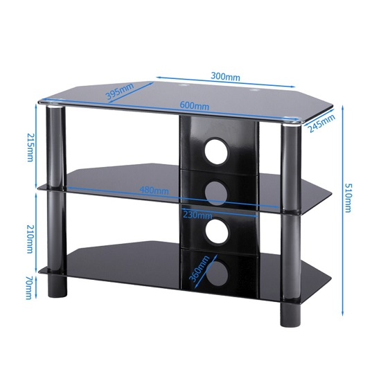 Essential Glass TV Stand Small In Black With Glass Shelves_2