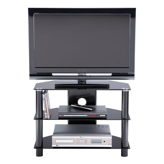 Essentials Glass TV Stand In Black With 3 Shelves