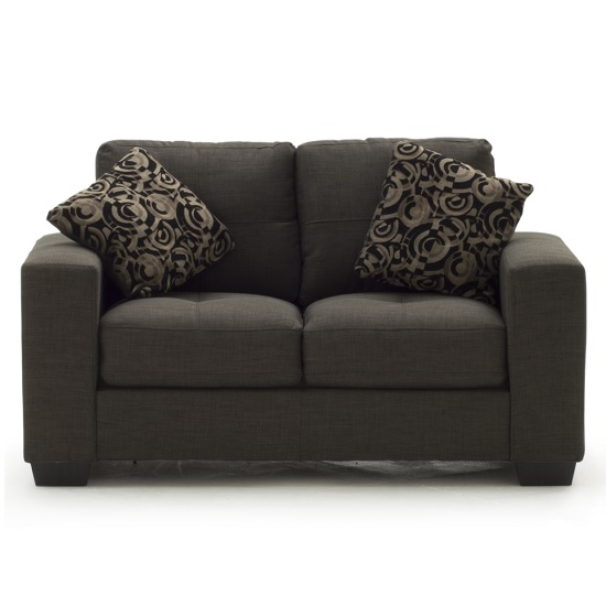 Image of Estelle Fabric 2 Seater In Grey With Dark Wooden Feet