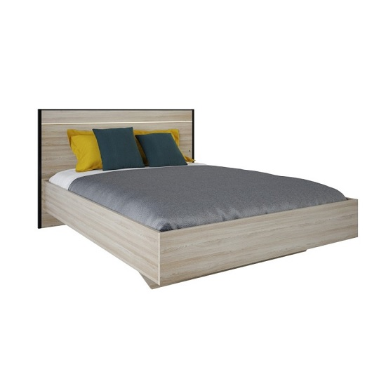 Estelle Wooden Double Bed In Shannon Oak With LED