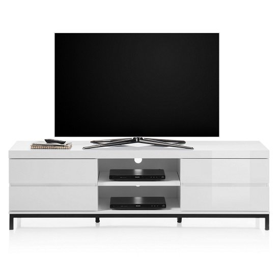 Estonia Lowboard TV Stand In White High Gloss With 4 Drawers
