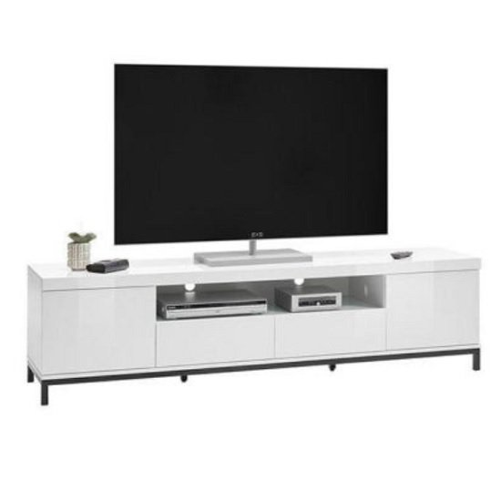 Estonia Modern TV Stand Large In White High Gloss With 2 Doors