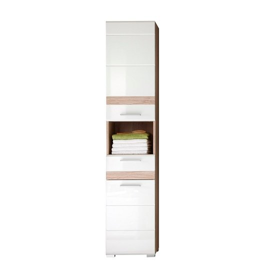 Eterno Tall Bathroom Cabinet In Oak And White High Gloss