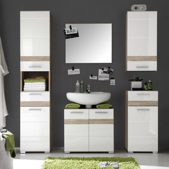 Eterno Bathroom Furniture Set In Oak And White High Gloss