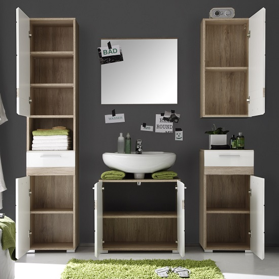 Eterno Wall Mounted Cabinet In Oak And White High Gloss_3