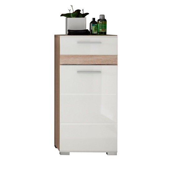 Eterno Bathroom Cabinet In Oak And White High Gloss