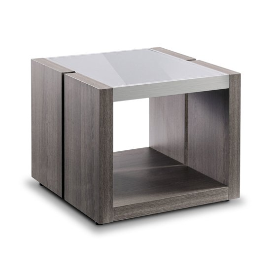 Europa Glass End Table With Smokey Grey Base_1