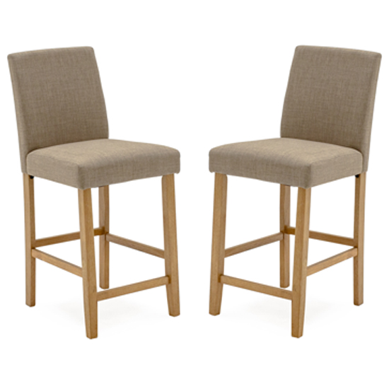 Evelyn Beige Linen Bar Chair With Wooden Legs In Pair
