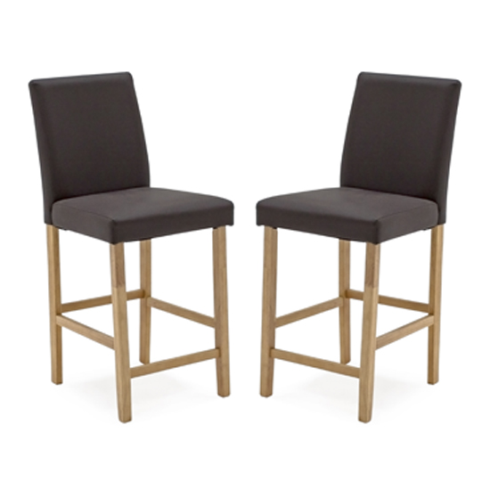 Evelyn Brown Faux Leather Bar Chair With Wooden Legs In Pair