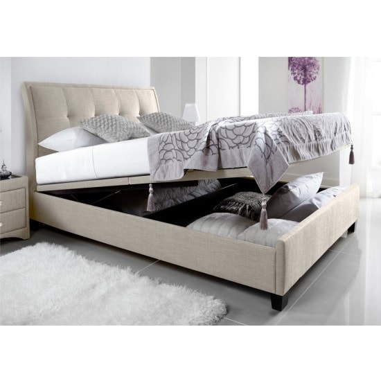 Evelyn Fabric Ottoman Storage Double Bed In Oatmeal