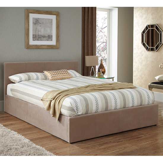 Evelyn Latte Fabric Upholstered Ottoman King Size Bed