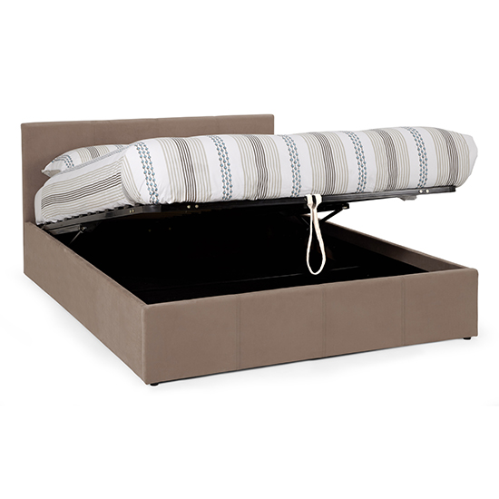 Evelyn Latte Fabric Upholstered Ottoman Small Double Bed_3
