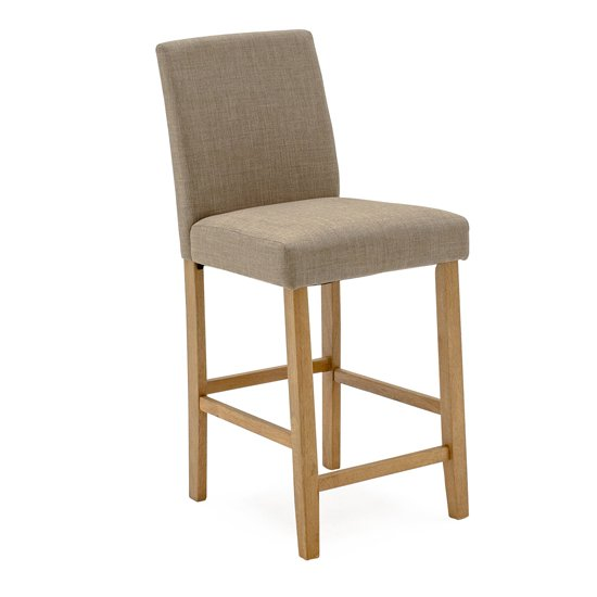 Evelyn Linen Fabric Bar Chair In Beige With Wooden Legs