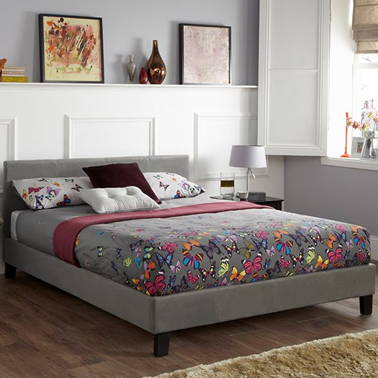 Evelyn Steel Fabric Upholstered King Size Bed