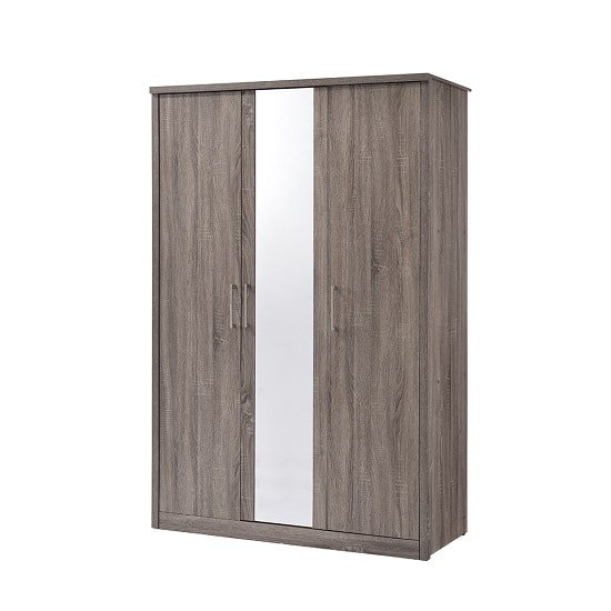 Evelyn Mirrored Wardrobe In Grey Wood Grains With 3 Doors