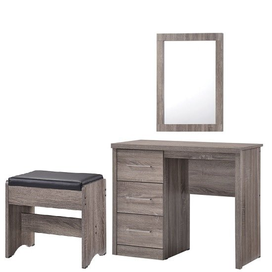 Evelyn Dressing Table With Mirror And Stool In Grey Wood