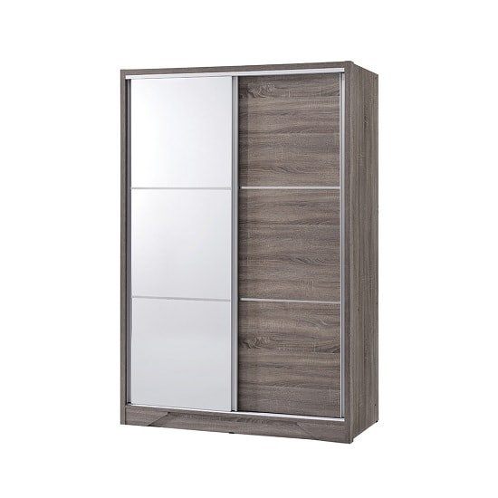 Evelyn Mirrored Sliding Wardrobe In Grey Wood Grains And 2 Doors