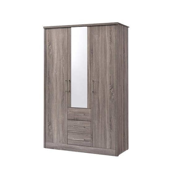 Evelyn Mirror Wardrobe In Grey Wood Grains And 3 Doors 3 Drawers