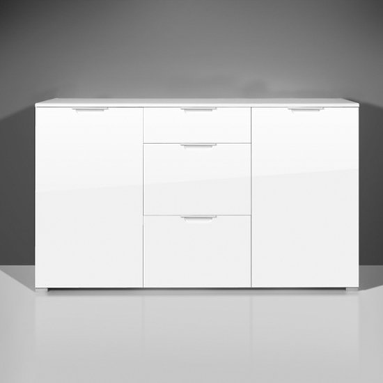 Event Sideboard In White High Gloss With 2 Doors And 3 Drawers