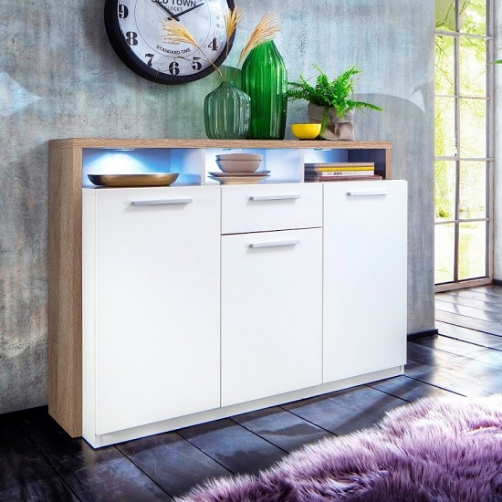 Event Sideboard In Rough Sawn Oak And White With 3 Doors And LED_1
