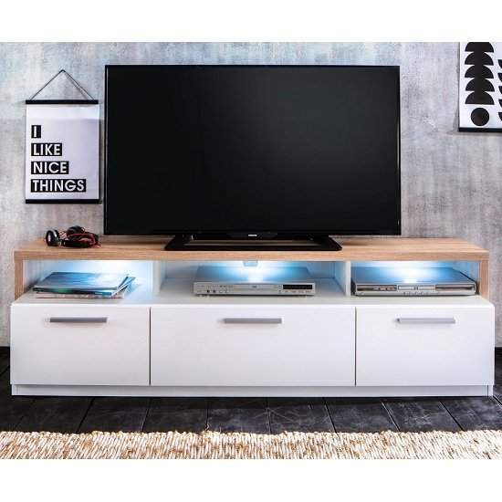 Event Wooden TV Stand In Rough Sawn Oak And White With LED_3