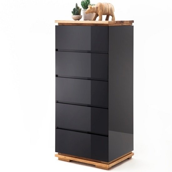 Everly Chest Of Drawers In Black High Gloss Lacquered And Oak