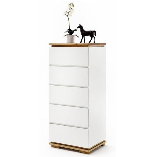 Everly Chest Of Drawers In Matt White And Oak With 5 Drawers