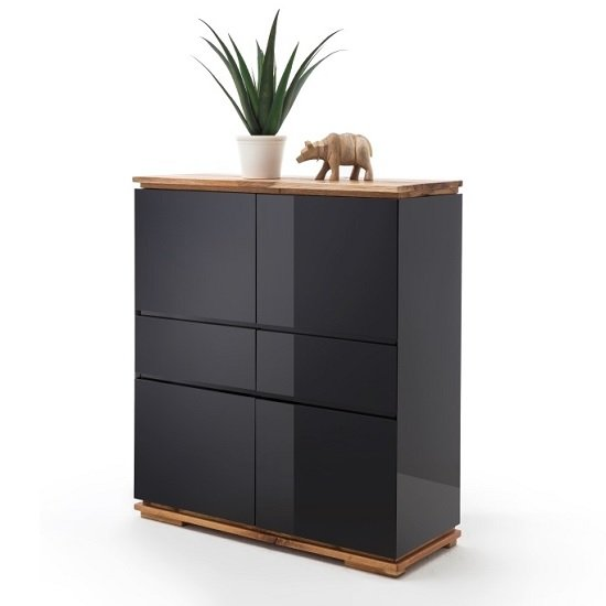 Everly Highboard In Black High Gloss Lacquered And Oak_1