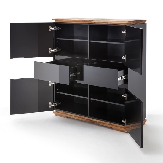 Everly Highboard In Black High Gloss Lacquered And Oak_2
