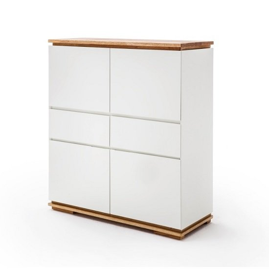 View Everly highboard in matt white lacquered and oak with 4 doors