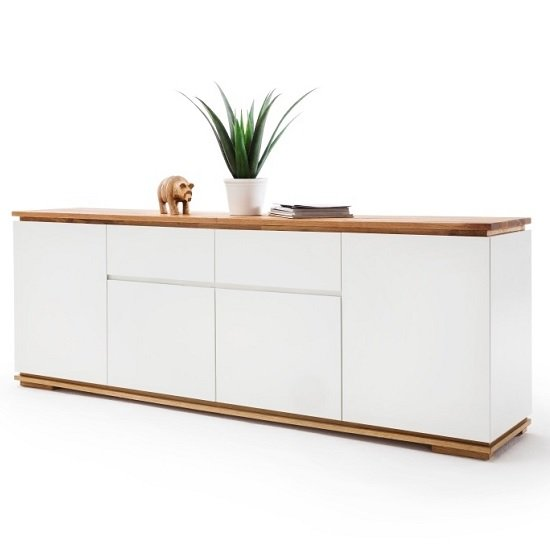 Everly Large Sideboard In Matt White Lacquered And Oak_1