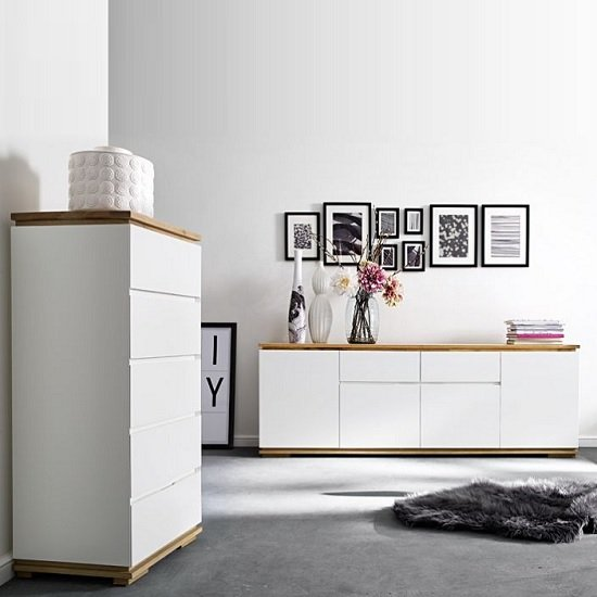 Everly Large Sideboard In Matt White Lacquered And Oak_4
