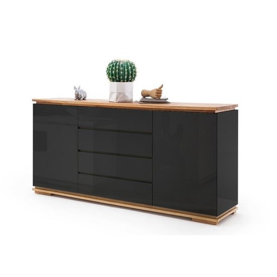 Everly Sideboard In Black High Gloss Lacquered And Oak