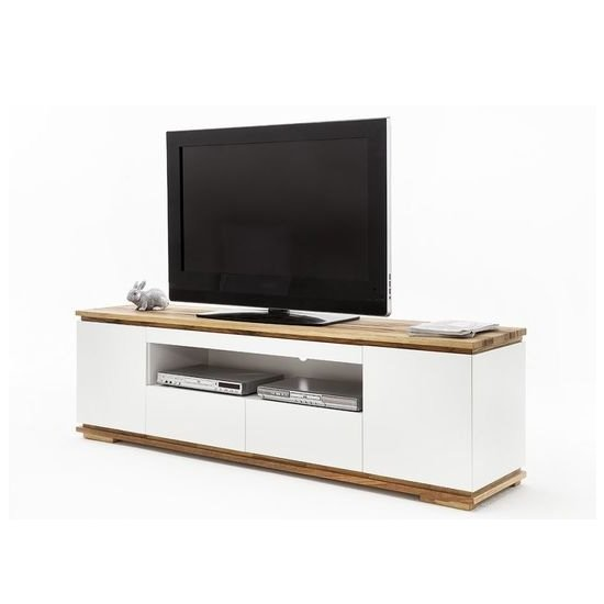 Everly TV Stand In Matt White Lacquered And Oak With 2 Doors