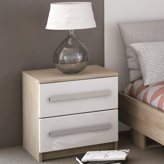 Evita Bedside Cabinet In Brushed Oak And White High Gloss