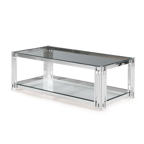 Evoke Glass Coffee Table In Clear With Polished Steel Frame_2