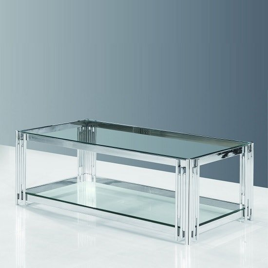 Evoke Glass Coffee Table In Clear With Polished Steel Frame_1