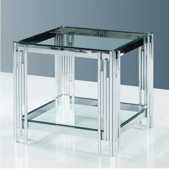 Evoke Glass Side Table In Clear With Polished Steel Frame