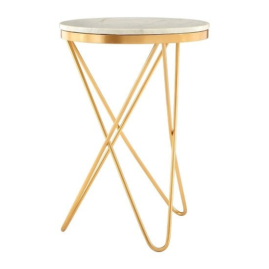 Evolution Marble Top Side Table In White With Iron Legs_1