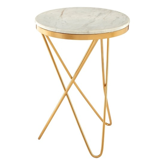 Evolution Marble Top Side Table In White With Iron Legs_2