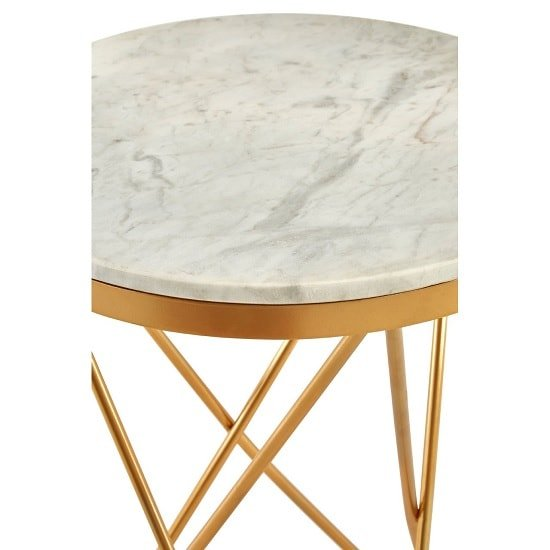 Evolution Marble Top Side Table In White With Iron Legs_3