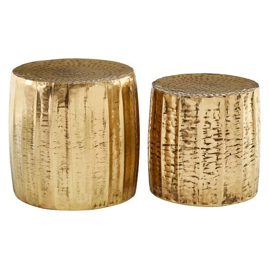 Evolution Set Of 2 Stools Round In Antique Brass Finish_2