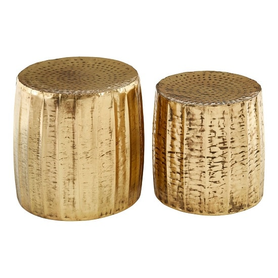 Evolution Set Of 2 Stools Round In Antique Brass Finish