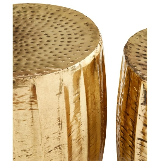 Evolution Set Of 2 Stools Round In Antique Brass Finish_3