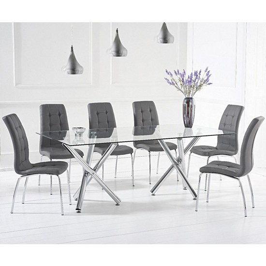 Evonis Large Glass Dining Table With 8 Grey Leather Chairs