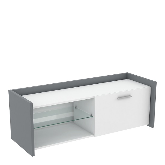 Evoque Wooden TV Stand In Matt White And Light Grey With Drawer
