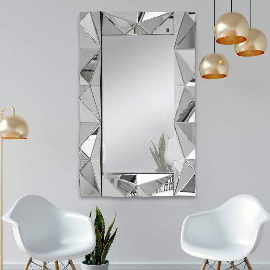 Product photograph showing Evora Designer Rectangular Wall Mirror