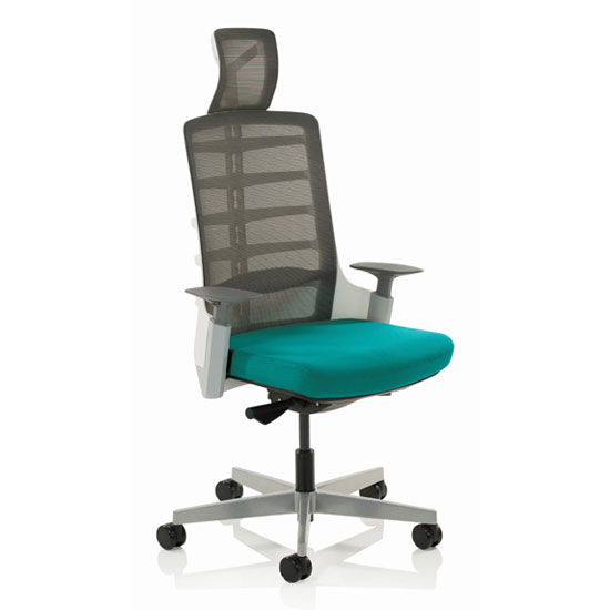 Exo Charcoal Grey Back Office Chair With Maringa Teal Seat